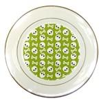Skull Bone Mask Face White Green Porcelain Plates Front