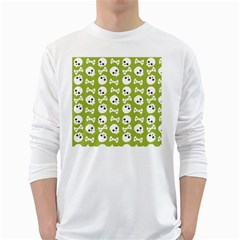 Skull Bone Mask Face White Green White Long Sleeve T Shirts