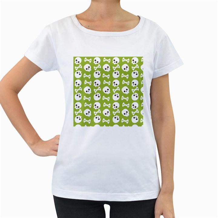 Skull Bone Mask Face White Green Women s Loose-Fit T-Shirt (White)