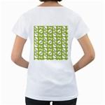Skull Bone Mask Face White Green Women s Loose-Fit T-Shirt (White) Back