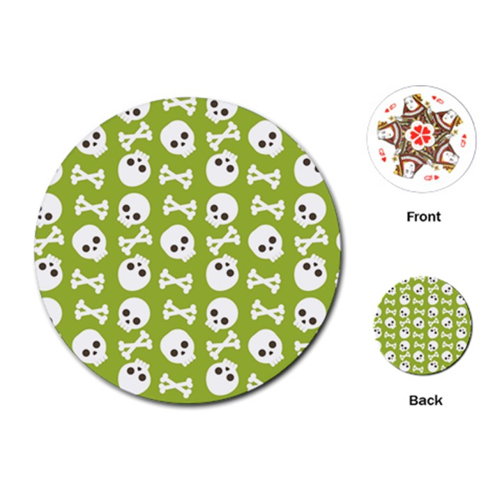 Skull Bone Mask Face White Green Playing Cards (Round)