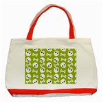 Skull Bone Mask Face White Green Classic Tote Bag (Red) Front