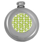 Skull Bone Mask Face White Green Round Hip Flask (5 oz) Front