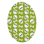 Skull Bone Mask Face White Green Oval Ornament (Two Sides) Front