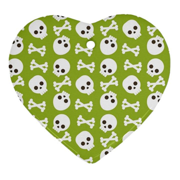 Skull Bone Mask Face White Green Heart Ornament (Two Sides)