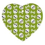 Skull Bone Mask Face White Green Heart Ornament (Two Sides) Back