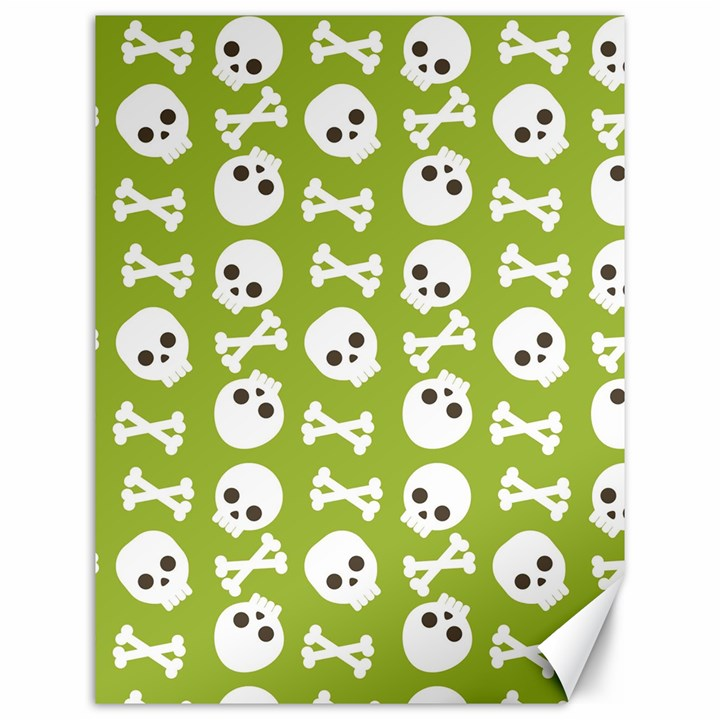 Skull Bone Mask Face White Green Canvas 12  x 16
