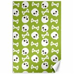 Skull Bone Mask Face White Green Canvas 24  x 36  36 x24 Canvas - 1