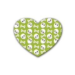 Skull Bone Mask Face White Green Rubber Coaster (heart)