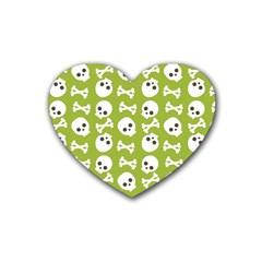 Skull Bone Mask Face White Green Heart Coaster (4 Pack)