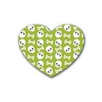 Skull Bone Mask Face White Green Heart Coaster (4 pack)  Front