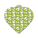 Skull Bone Mask Face White Green Dog Tag Heart (One Side) Front