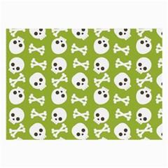 Skull Bone Mask Face White Green Large Glasses Cloth (2 Side)