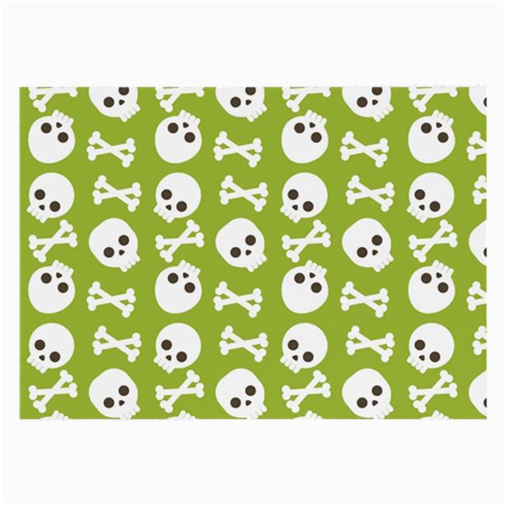 Skull Bone Mask Face White Green Large Glasses Cloth (2-Side)
