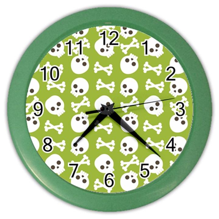 Skull Bone Mask Face White Green Color Wall Clocks