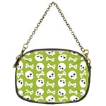 Skull Bone Mask Face White Green Chain Purses (One Side)  Front
