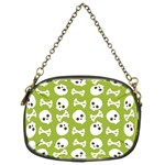 Skull Bone Mask Face White Green Chain Purses (Two Sides)  Front