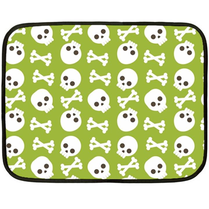 Skull Bone Mask Face White Green Fleece Blanket (Mini)