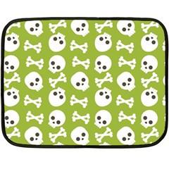 Skull Bone Mask Face White Green Double Sided Fleece Blanket (mini)