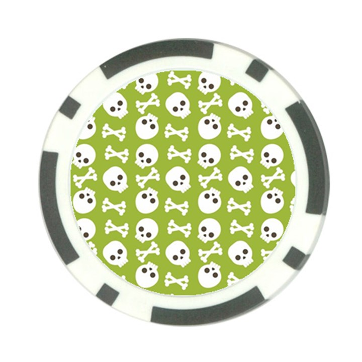 Skull Bone Mask Face White Green Poker Chip Card Guard (10 pack)