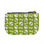 Skull Bone Mask Face White Green Mini Coin Purses Back