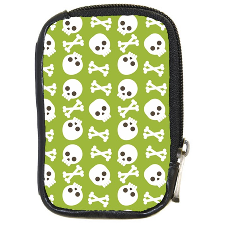 Skull Bone Mask Face White Green Compact Camera Cases