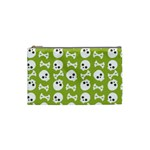 Skull Bone Mask Face White Green Cosmetic Bag (Small)  Front