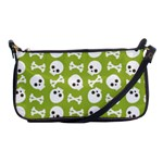 Skull Bone Mask Face White Green Shoulder Clutch Bags Front