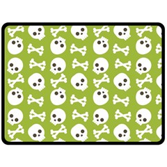 Skull Bone Mask Face White Green Fleece Blanket (large)