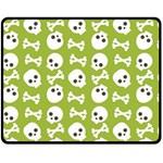 Skull Bone Mask Face White Green Fleece Blanket (Medium)  60 x50 Blanket Front