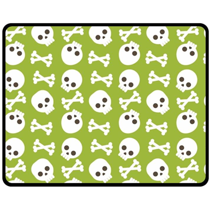 Skull Bone Mask Face White Green Fleece Blanket (Medium)