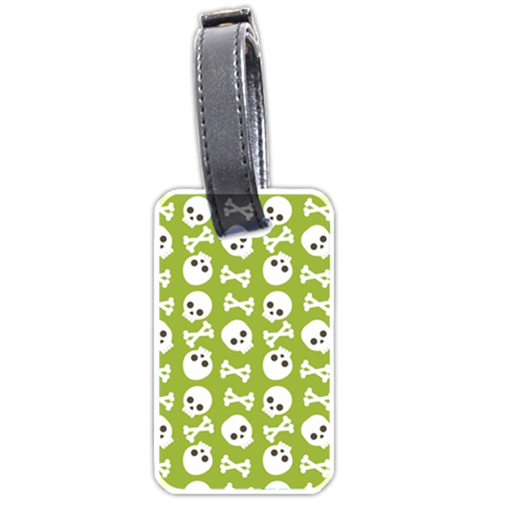 Skull Bone Mask Face White Green Luggage Tags (One Side)