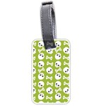 Skull Bone Mask Face White Green Luggage Tags (Two Sides) Back