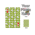 Skull Bone Mask Face White Green Playing Cards 54 (Mini)  Front - Heart6