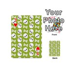 Skull Bone Mask Face White Green Playing Cards 54 (Mini)  Front - Heart7