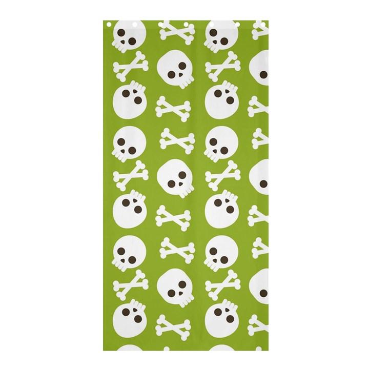 Skull Bone Mask Face White Green Shower Curtain 36  x 72  (Stall)