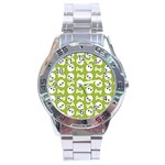 Skull Bone Mask Face White Green Stainless Steel Analogue Watch Front