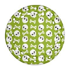 Skull Bone Mask Face White Green Round Filigree Ornament (two Sides)