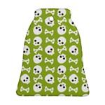 Skull Bone Mask Face White Green Bell Ornament (Two Sides) Back