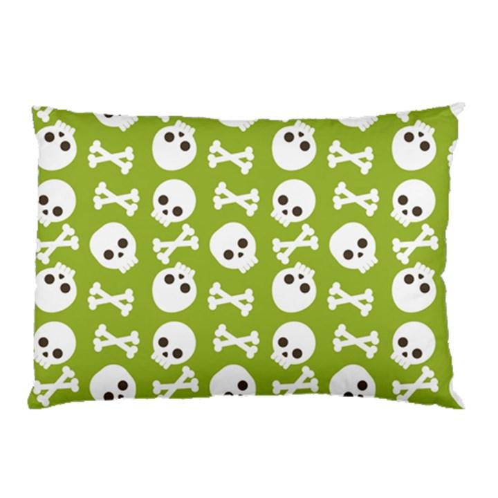Skull Bone Mask Face White Green Pillow Case (Two Sides)