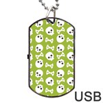 Skull Bone Mask Face White Green Dog Tag USB Flash (One Side) Front
