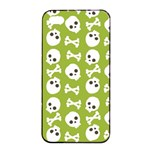 Skull Bone Mask Face White Green Apple iPhone 4/4s Seamless Case (Black) Front