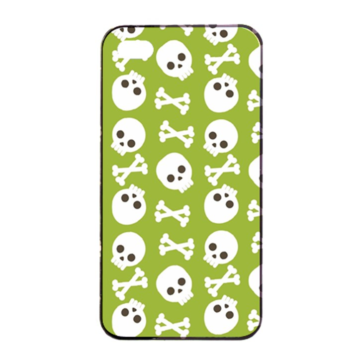 Skull Bone Mask Face White Green Apple iPhone 4/4s Seamless Case (Black)
