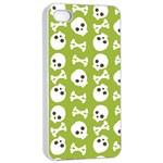 Skull Bone Mask Face White Green Apple iPhone 4/4s Seamless Case (White) Front