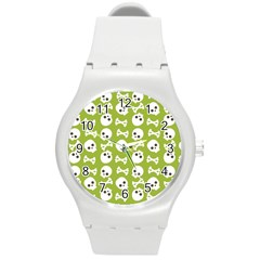 Skull Bone Mask Face White Green Round Plastic Sport Watch (m)