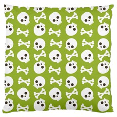 Skull Bone Mask Face White Green Large Cushion Case (one Side)