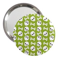 Skull Bone Mask Face White Green 3  Handbag Mirrors