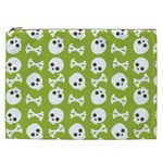 Skull Bone Mask Face White Green Cosmetic Bag (XXL)  Front