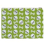 Skull Bone Mask Face White Green Cosmetic Bag (XXL)  Back