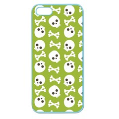 Skull Bone Mask Face White Green Apple Seamless Iphone 5 Case (color)